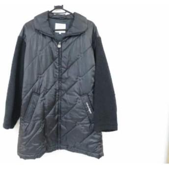 【中古】 クレージュ COURREGES ダウンコート サイズF レディース 黒 冬物/刺繍/Sportfutur
