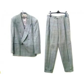 【中古】 バーニーズ ダブルスーツ サイズ50 メンズ グレー アイボリー 黒 肩パッド/チェック柄