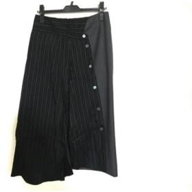 【中古】 アールト AALTO ロングスカート サイズ38 M レディース 黒 グレー 白 ストライプ