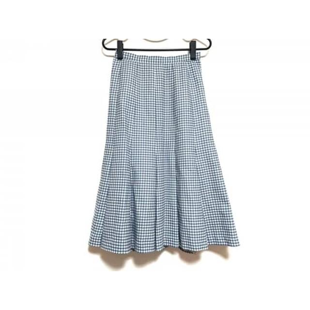 【中古】 レリアン Leilian スカート サイズ9 M レディース ブルー 白 チェック柄