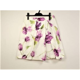 【中古】 スポーツマックスコード スカート サイズ42(J) レディース 白 パープル マルチ 花柄