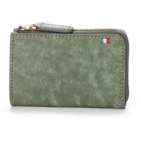 ミラグロ Milagro イタリアンヌバック L字ファスナーミニ財布 (グリーン)