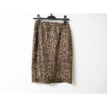 【中古】 ウィムガゼット スカート サイズ36 S レディース 美品 ベージュ ダークブラウン シルク/豹柄