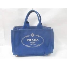 【中古】 プラダ PRADA トートバッグ CANAPA ブルー キャンバス