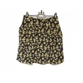 【中古】 ルージュヴィフ Rouge vif ミニスカート サイズ36 S レディース ダークネイビー イエロー 花柄