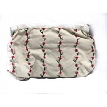 【中古】 レスポートサック LESPORTSAC 小物入れ アイボリー ダークグレー レッド 刺繍 レスポナイロン