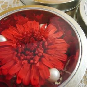 【送料無料】マグネット缶に入った赤いガーベラ