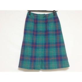 【中古】 ヨークランド YORKLAND スカート サイズ9AR S レディース グリーン ブルー マルチ チェック柄