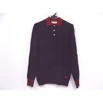 【中古】 メゾンキツネ MAISON KITSUNE 長袖ポロシャツ サイズXS レディース 黒 レッド ラメ