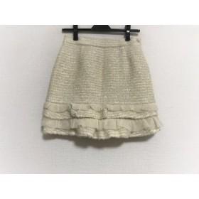 【中古】 アプワイザーリッシェ スカート サイズ2 M レディース アイボリー ニット/フリル/ラメ