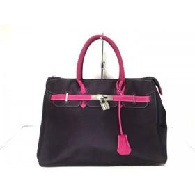 【中古】 ニコールリー NicoleLee ハンドバッグ 美品 パープル ピンク 転写プリント 化学繊維