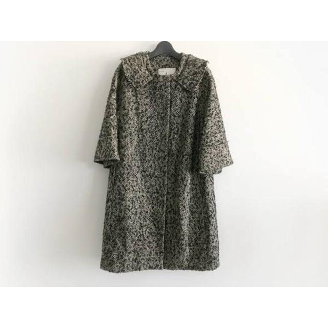 【中古】 ミリー MILLY コート サイズ6 M レディース 黒 マルチ ツイード/冬物