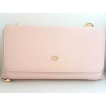 【中古】 サマンサタバサプチチョイス 財布 美品 ピンク リボン/ラインストーン レザー