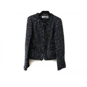 【中古】 ビアッジョブルー Viaggio Blu ジャケット サイズ2 M レディース 美品 グレー 黒 ツイード