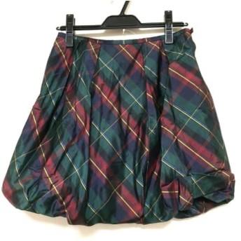 【中古】 ラルフローレン バルーンスカート サイズ9 M レディース 美品 ダークグリーン ボルドー マルチ