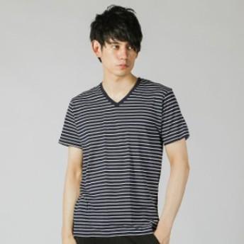 イグニオ メンズ Vネックパック 半袖Tシャツ (IG-9C14039UT) : ネイビー×ホワイト IGNIO