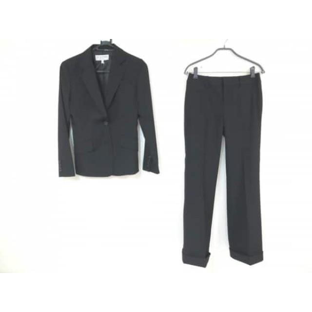 【中古】 ヴァンドゥ オクトーブル スカートスーツ サイズ上36下40 レディース 黒 ラメ/ストライプ