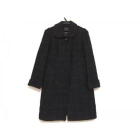 【中古】 ジャスグリッティー JUSGLITTY コート サイズ1 S レディース 黒 冬物/ツイード/ラメ
