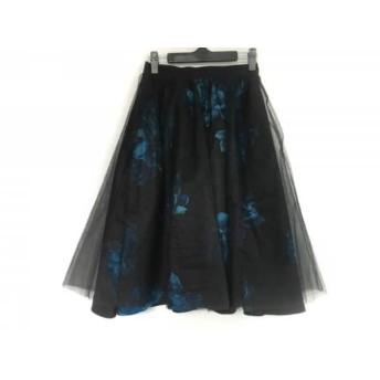 【中古】 フレイアイディー FRAY I.D スカート サイズ0 XS レディース 美品 黒 ネイビー 花柄/シースルー