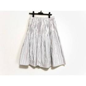【中古】 ヨシエイナバ YOSHIE INABA ロングスカート サイズ9 M レディース 白 ネイビー ストライプ