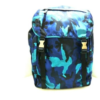【中古】 プラダ PRADA リュックサック 美品 - 黒 ネイビー ブルー 迷彩柄 ナイロン
