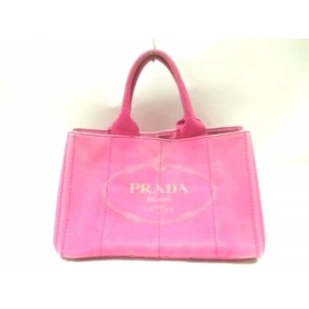 【中古】 プラダ PRADA トートバッグ CANAPA ピンク グレー キャンバス