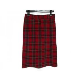 【中古】 ミラオーウェン スカート サイズ0 XS レディース レッド グリーン マルチ チェック柄
