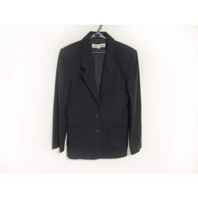【中古】 ハナエモリ HANAE MORI ジャケット サイズ9 M レディース 黒 Knit/肩パッド
