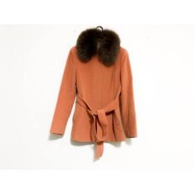 【中古】 ニジュウサンク 23区 コート サイズ38 M レディース オレンジ ダークブラウン 冬物/ファー