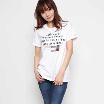 トミーヒルフィガー TOMMY HILFIGER フラッグロゴTシャツ (ホワイト)
