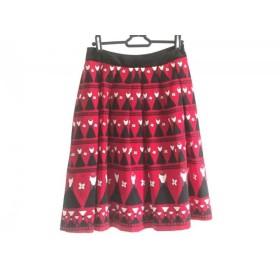 【中古】 エムズグレイシー M'S GRACY スカート サイズ38 M レディース レッド 黒 マルチ