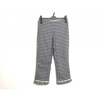 【中古】 モスキーノ チープ&シック パンツ サイズUSA4 S レディース 美品 黒 白 チェック柄/刺繍