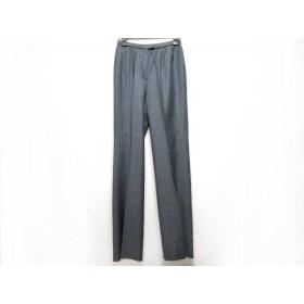 【中古】 レリアン Leilian パンツ サイズ9 M レディース 美品 ダークグレー ライトブルー ストライプ