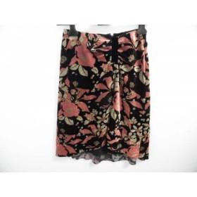 【中古】 ルーニィ LOUNIE スカート サイズ38 M レディース 黒 ピンク アイボリー 花柄