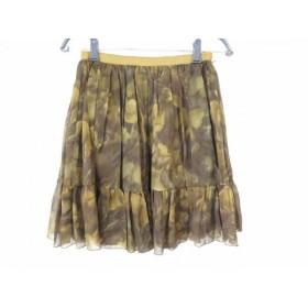 【中古】 ドゥーズィエム スカート サイズ38 M レディース カーキ ダークグリーン マルチ シースルー
