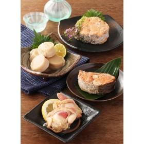 加島屋 紅鮭水煮・キングサーモン水煮・帆立貝柱の水煮・北寄貝の水煮 缶詰6缶セット