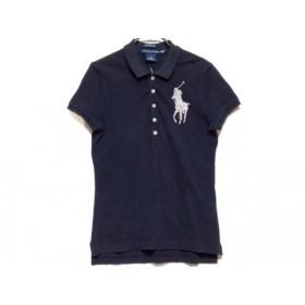【中古】 ラルフローレン 半袖ポロシャツ サイズM レディース ビッグポニー ネイビー フェイクパール