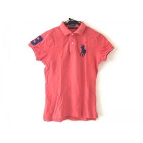 【中古】 ラルフローレン 半袖ポロシャツ サイズM レディース 美品 ビッグポニー レッド ダークネイビー