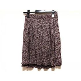 【中古】 アニエスベー agnes b スカート サイズ1 S レディース ダークブラウン ピンク グリーン 花柄