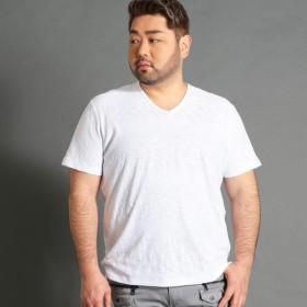 [マルイ] <大きいサイズ>市松×ボーダー柄半袖VネックTシャツ/ハイダウェイ(大きいサイズ)(HIDEAWAYS)