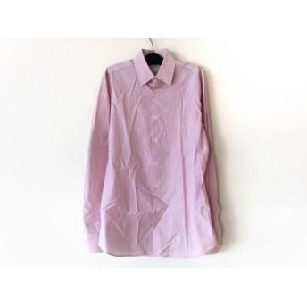 【中古】 プラダ PRADA 長袖シャツ メンズ 美品 ピンク 白 ストライプ