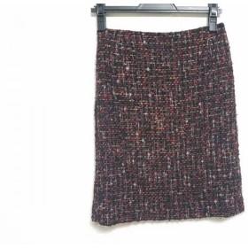 【中古】 ルーニィ LOUNIE スカート サイズ36 S レディース ボルドー マルチ ツイード