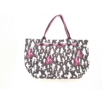 【中古】 レスポートサック LESPORTSAC ハンドバッグ 美品 黒 白 ピンク Barbie レスポナイロン