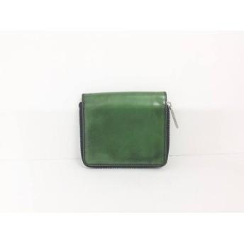 【中古】 ポールスミス PaulSmith 2つ折り財布 グリーン ラウンドファスナー レザー
