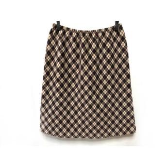 【中古】 アニエスベー agnes b ロングスカート サイズ2 M レディース 黒 レッド アイボリー チェック柄