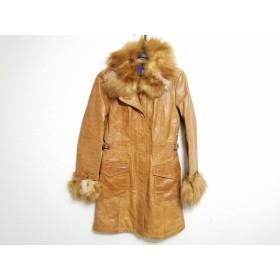 【中古】 バーバリーブルーレーベル コート サイズ38 M レディース ライトブラウン 冬物/レザー/ファー