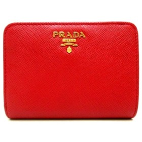 【中古】 プラダ PRADA 2つ折り財布 美品 - レッド レザー