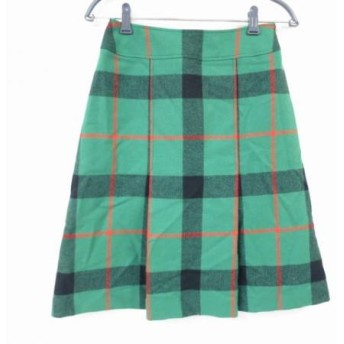 【中古】 ヨークランド YORKLAND スカート サイズ9AR S レディース 美品 グリーン 黒 レッド チェック柄