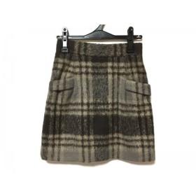 【中古】 アマカ AMACA スカート サイズ38 M レディース ベージュ ダークブラウン チェック柄