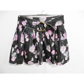 【中古】 ランゲージ Language ミニスカート サイズ36 S レディース 黒 ピンク グレー 花柄
